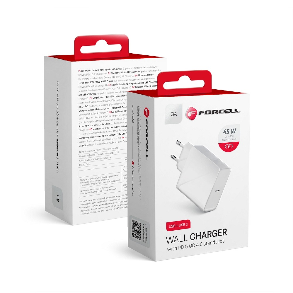 FORCELL typ C - 3A 45W QUICKCHARGE